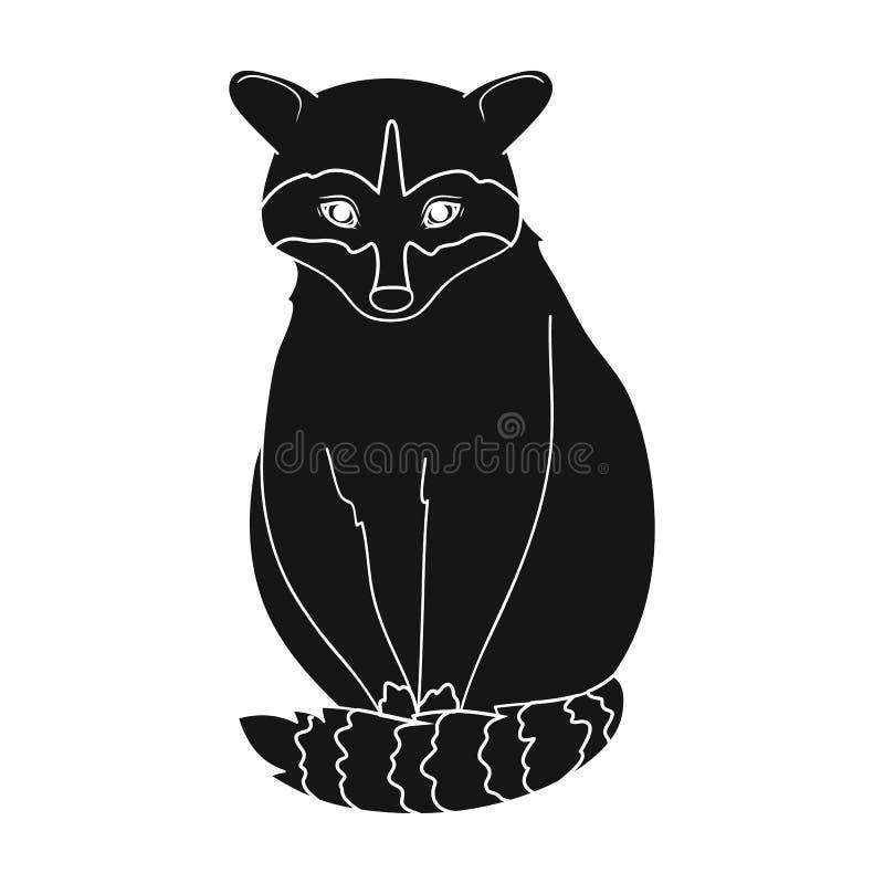 raccoon Zwierzęta przerzedżą ikonę w czerń stylu symbolu zapasu ilustraci wektorowej sieci ilustracja wektor