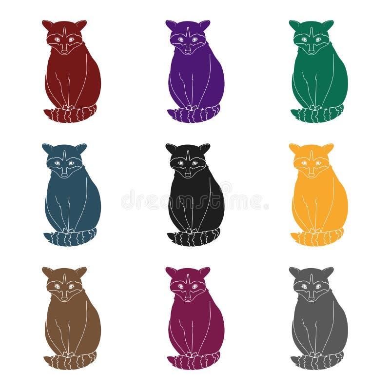 raccoon Zwierzęta przerzedżą ikonę w czerń stylu symbolu zapasu ilustraci wektorowej sieci ilustracji