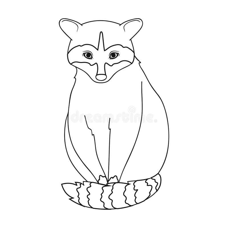 raccoon Zwierzęta przerzedżą ikonę w konturu stylu symbolu zapasu ilustraci wektorowej sieci ilustracja wektor