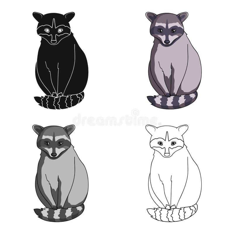 raccoon Zwierzęta przerzedżą ikonę w kreskówka stylu symbolu zapasu ilustraci wektorowej sieci ilustracja wektor