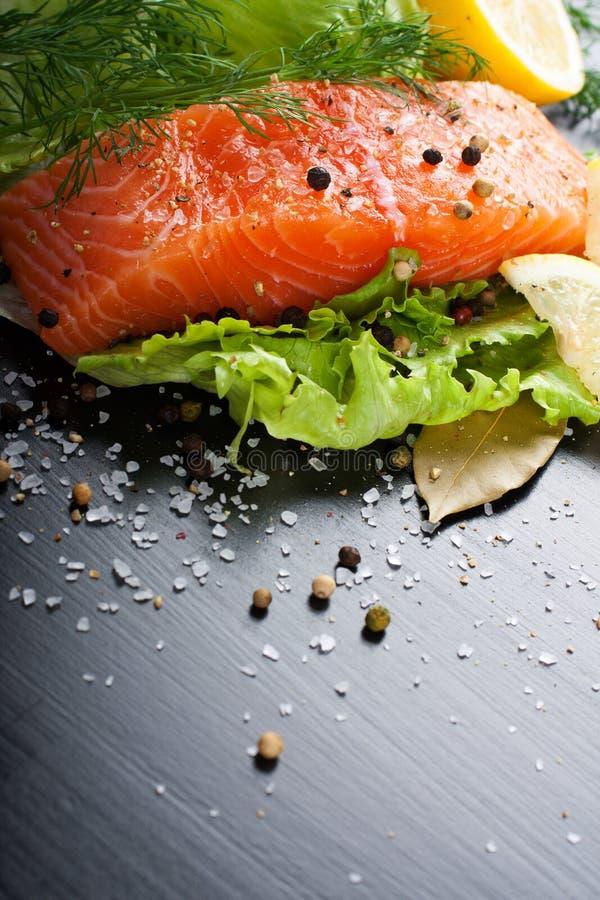 Raccordo di color salmone delizioso, ricco in olio di Omega 3 fotografia stock