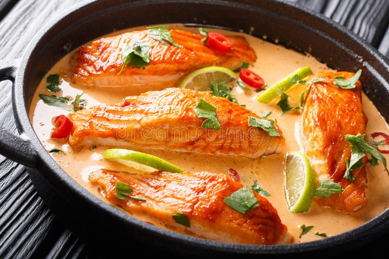Raccordo di color salmone tenero in curry tailandese piccante della noce di cocco con calce ed il primo piano delle erbe in una p immagini stock libere da diritti