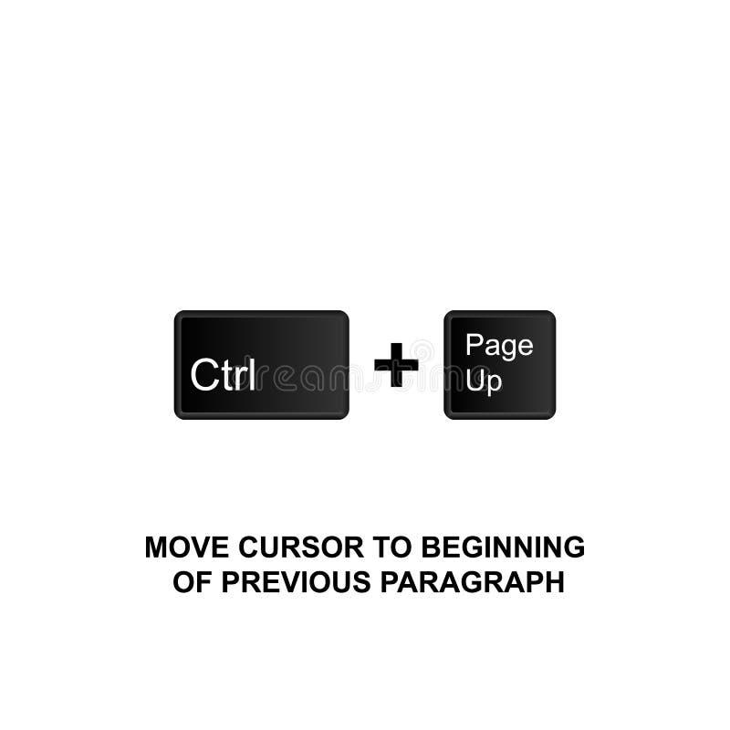 Raccourcis clavier, curseur de mouvement à commencer de l'icône précédente de paragraphe Peut être employé pour le Web, logo, l'a illustration de vecteur