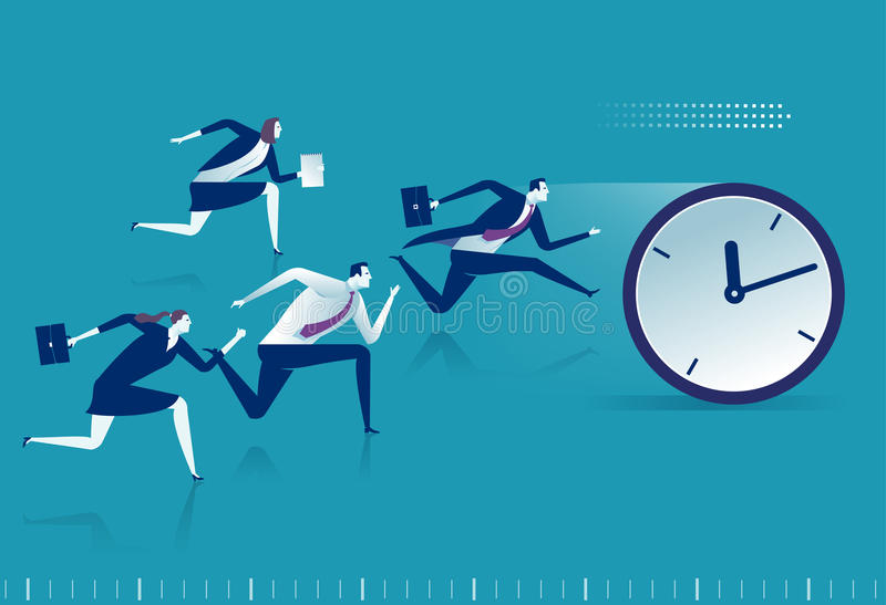 Race against time. Managers chasing pocket watch. Business vector illustration stock illustration