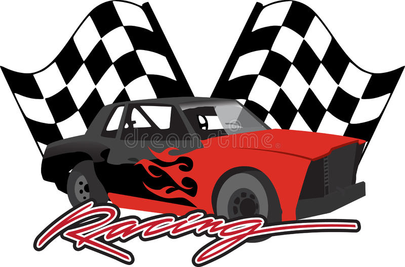 Race car with checkered flags royalty free illustration