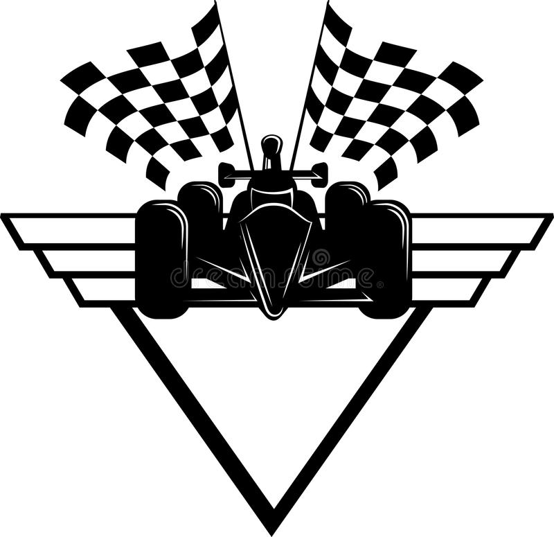 Race Car With Checkered Flags & Shield Stock Illustration