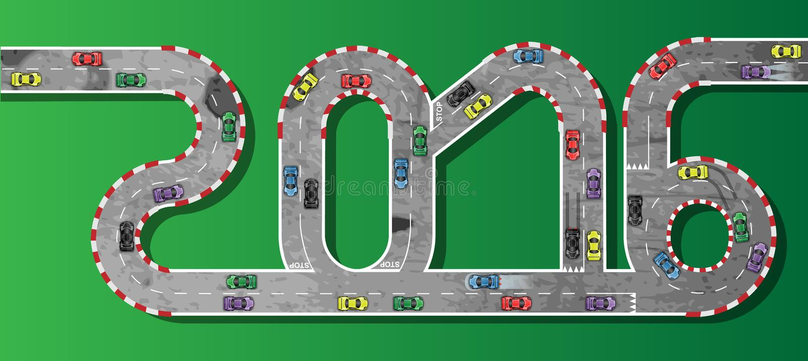2016 race car happy new year. And merry christmas vector illustration