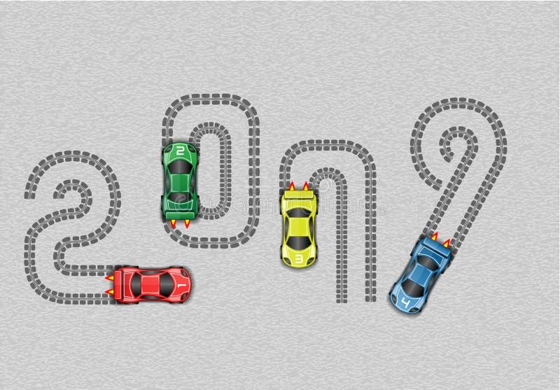 2019 RACE CAR HAPPY NEW YEAR. Simple vector illustration
