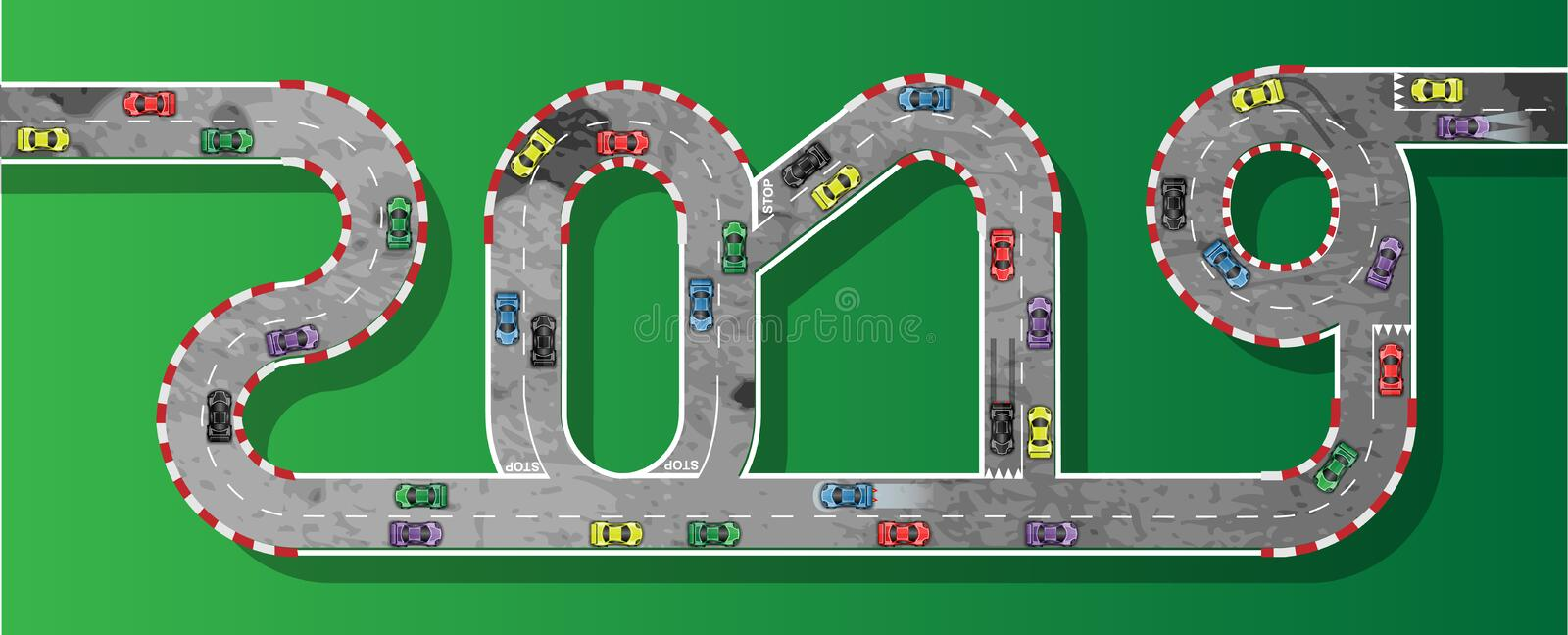 2019 RACE CAR HAPPY NEW YEAR. Simple royalty free illustration