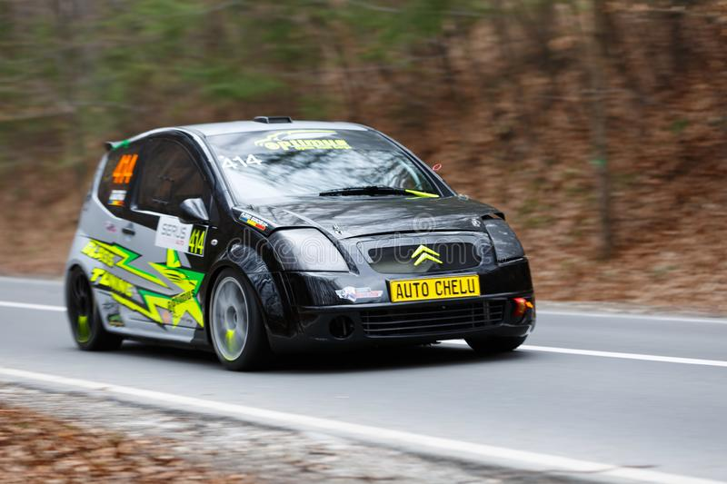 Race car panning shot. From left to right royalty free stock images