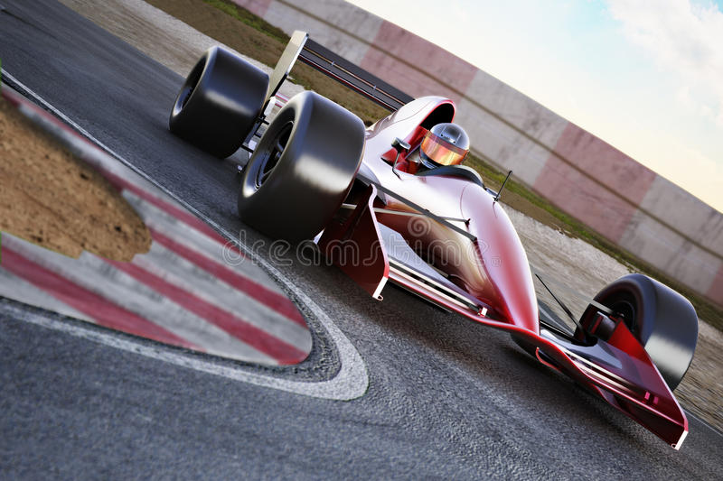 Race car racing on a track with motion blur. stock illustration