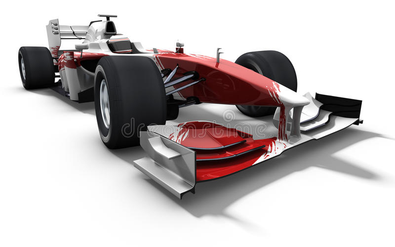 Race car - red and white stock illustration