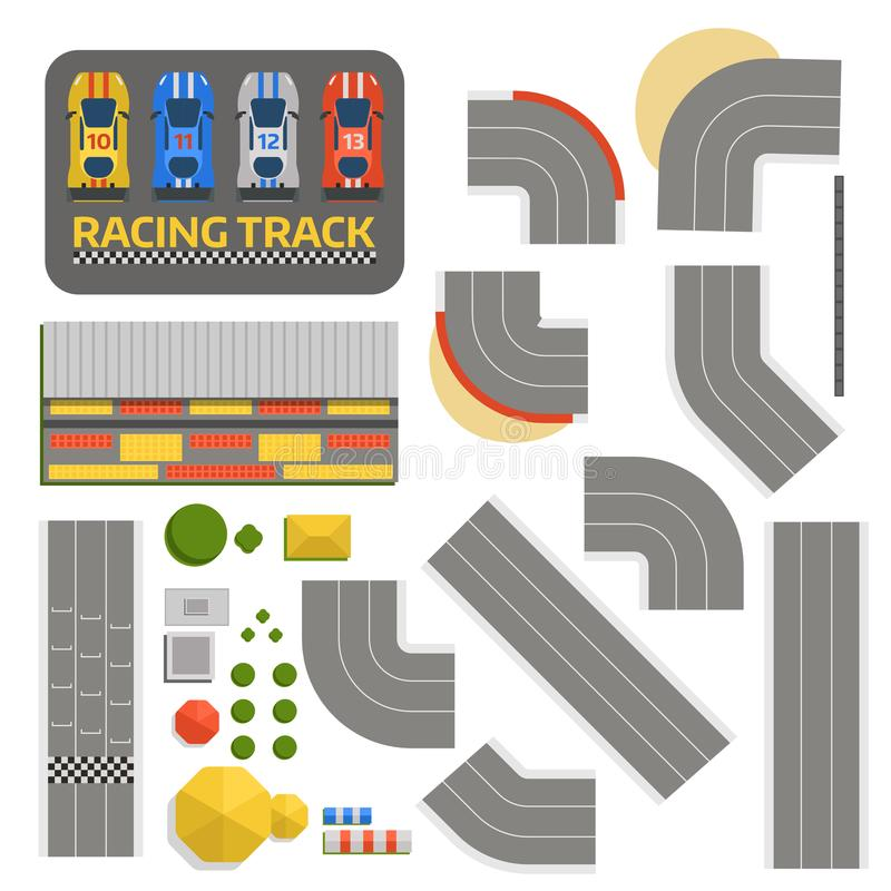 Race car sport track curve road vector. Top view of car sport competition constructor symbols. Circuit transportation. Tire car speedway line. Automobile stock illustration