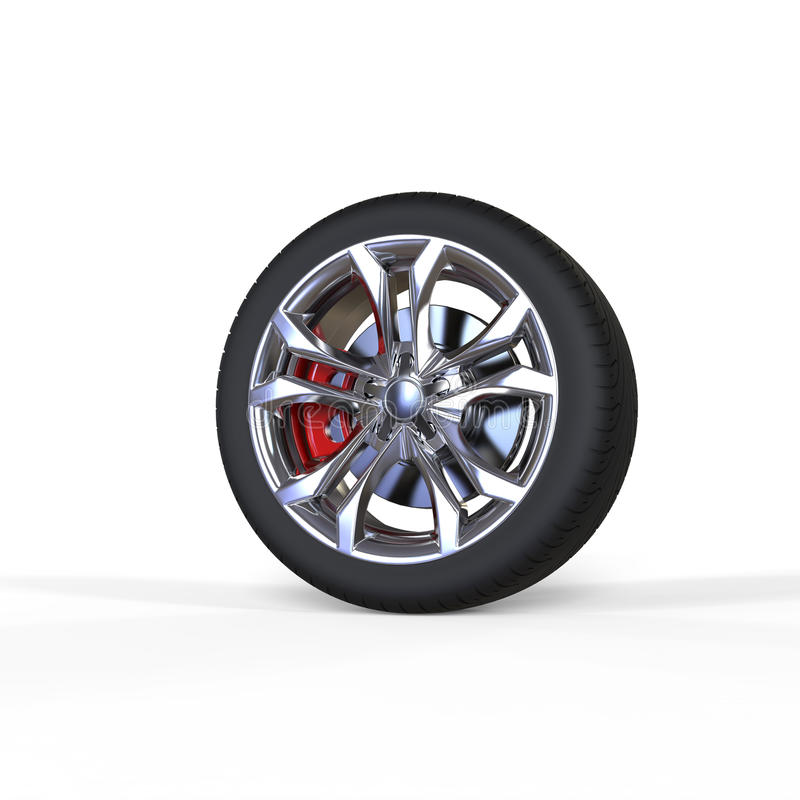 Race car tire with chrome rims. Isolated on white background stock illustration