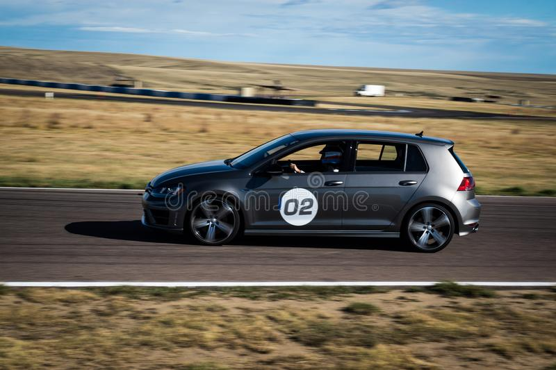 Race car on track stock photography