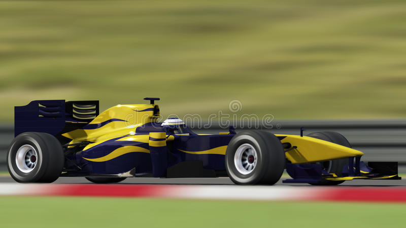 Race car on track - side view stock illustration