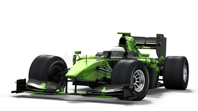 Race car on white - black & green stock photos