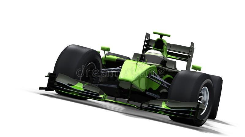Race car on white - black & green stock image
