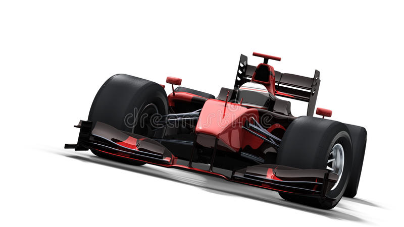 Race Car On White - Black & Red Royalty Free Stock Photo