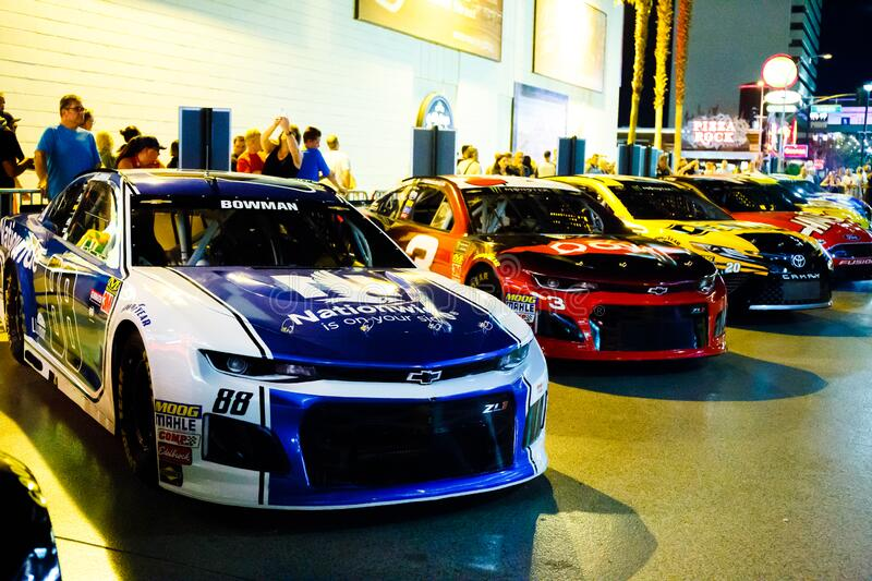 Race cars in downtown Las Vegas. stock images