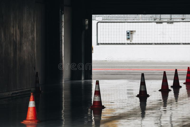 Race Cars entrance with safety cone - Monza Circuit in Lombardy - Italy. stock images