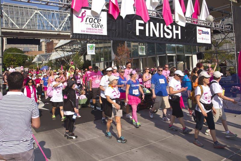 Race for the cure awareness Portland Oregon event. PORTLAND - September 21- 2014: Race for the cure breast cancer awareness event Portland Oregon royalty free stock photo