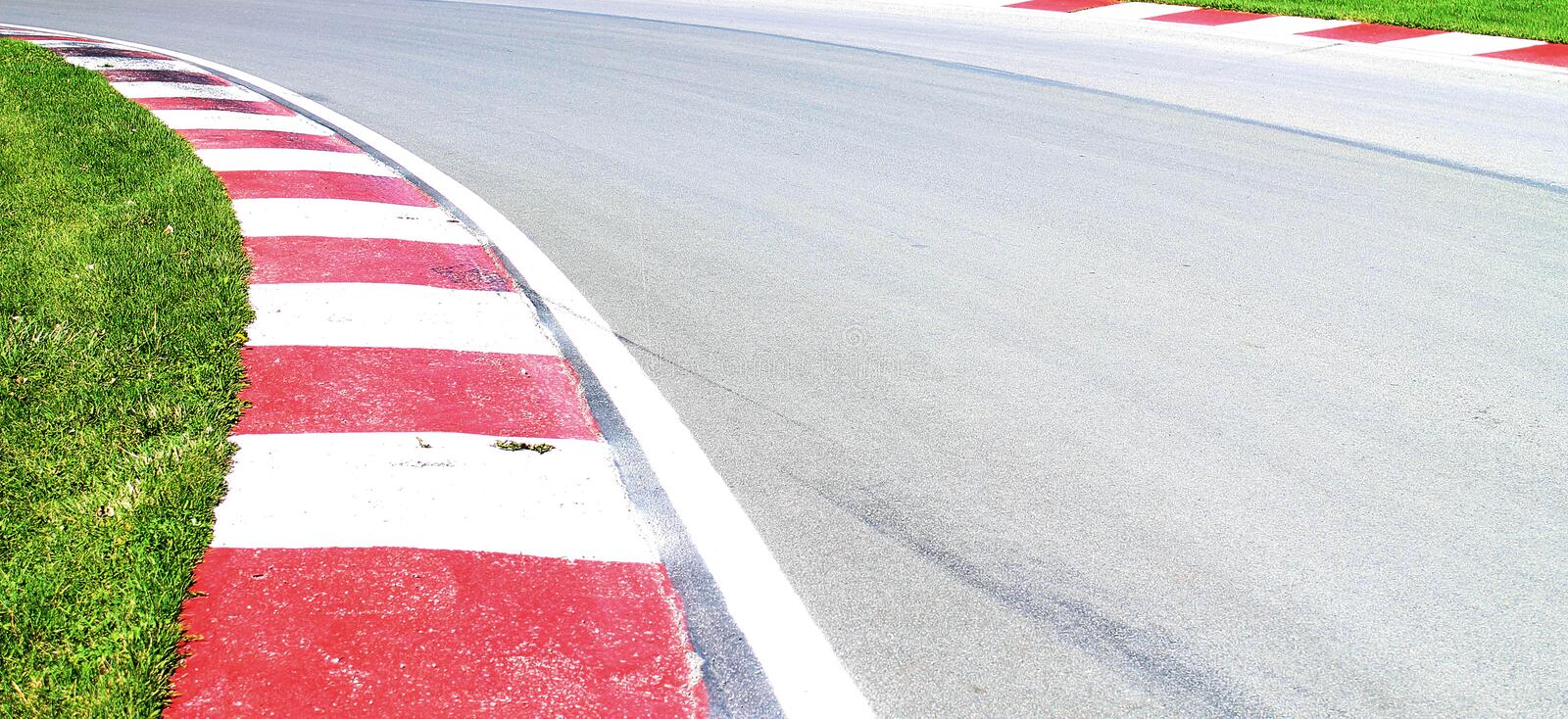 Race curve. Sharp curve of the F1 Grand Prix race track on Ile Notre Dame Montreal Canada stock photography