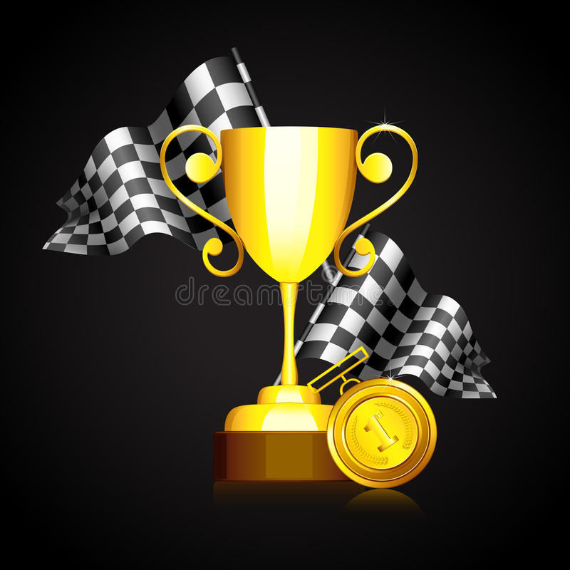 Race Flag with Gold Trophy royalty free illustration