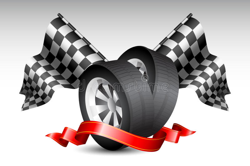 Race Flags with Tyre. Illustration of checkered racing flag with tyre wrapped in ribbon royalty free illustration
