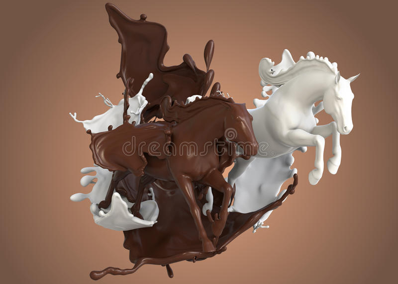 Race horses in milk chocolate stock photos