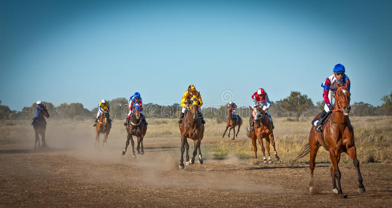 Race horses returning to scale in the Australian bush at the Come By Chance Picnics NSW Australia royalty free stock photo