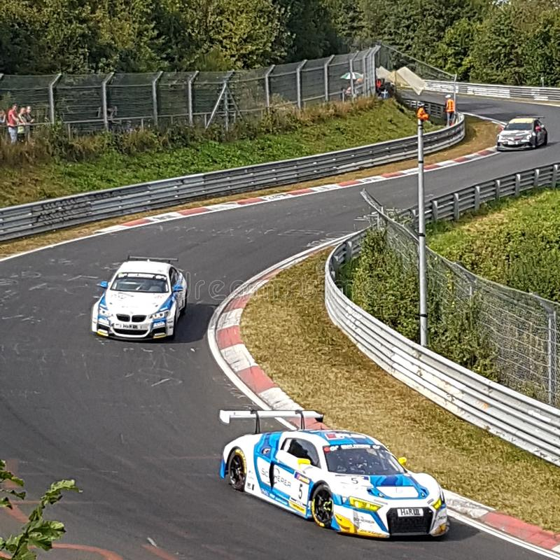 Race at Nordschleife Nürburgring at wehrseifen. Vln 6 hours race at Nordschleife Nürburgring 2016. View from ending of wehrseifen near adenau. A hot and stock photos