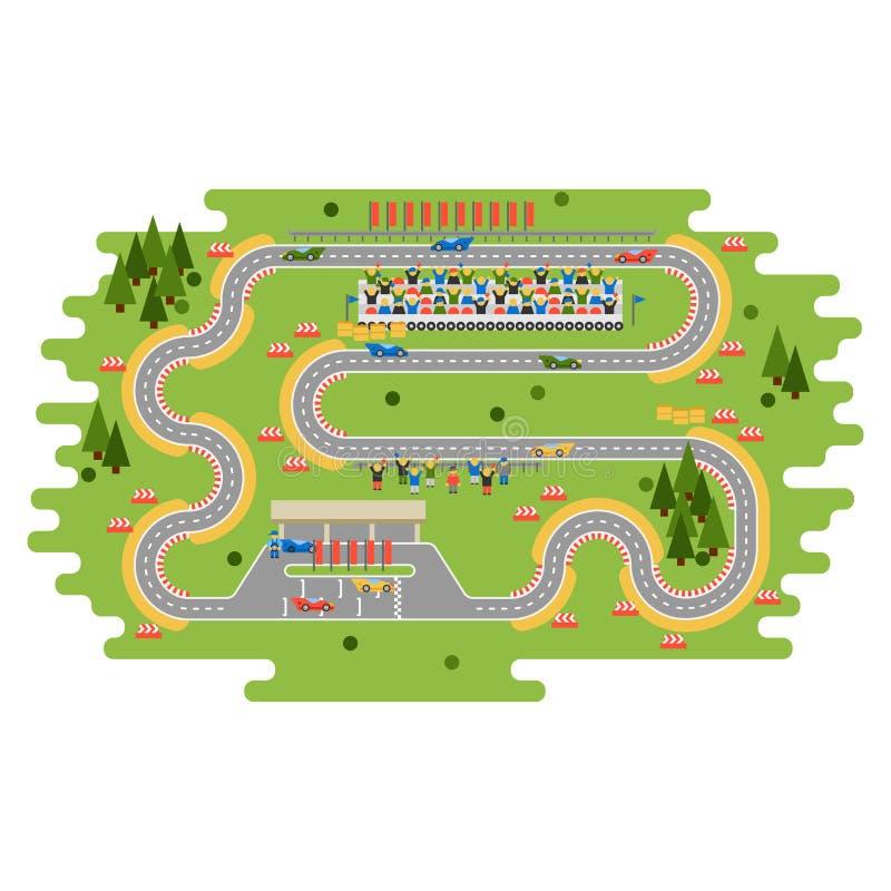 Race track curve road vector illustration