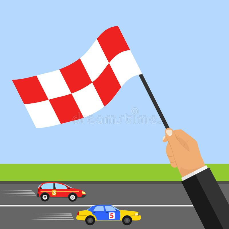 Race track. The hand with the flag shows the finish. Two cars ride at speed on the racetrack. vector illustration