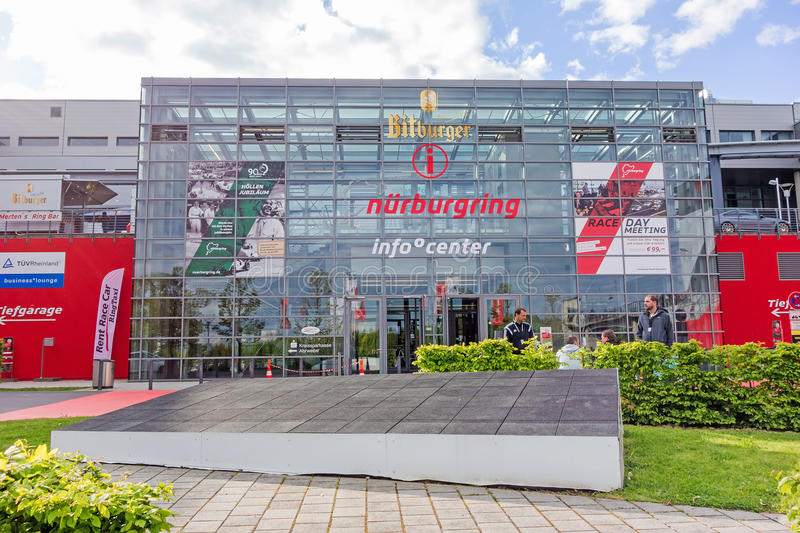 Race track Nurburgring - info center. Nurburg, Germany - May 20, 2017: Race track Nurburgring - info center, entrance - modern glass facade building stock images