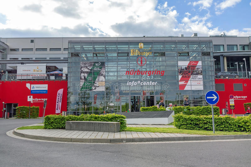 Race track Nurburgring - info center. Nurburg, Germany - May 20, 2017: Race track Nurburgring - info center, entrance - modern glass facade building stock image