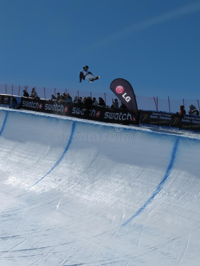 Race World Cup snowboard Half Pipe stock image