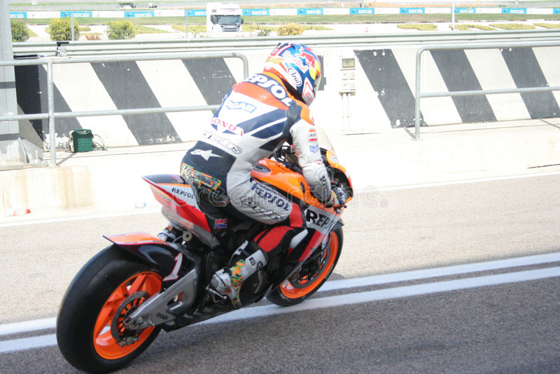Raceauto Nicky Hayden in Valencia stock foto