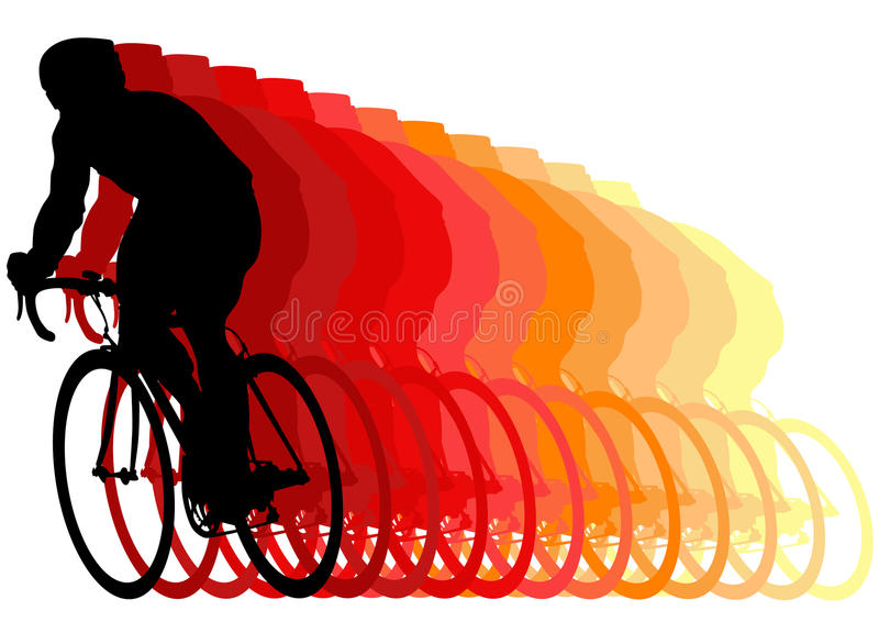 Raceauto op een fiets royalty-vrije illustratie