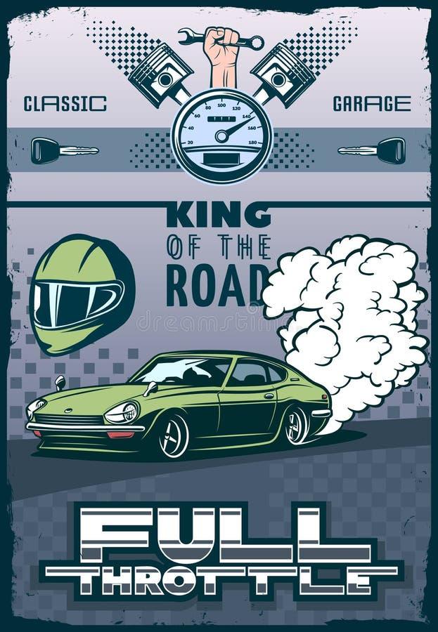 Raceautoaffiche elementen van motorsport vector illustratie