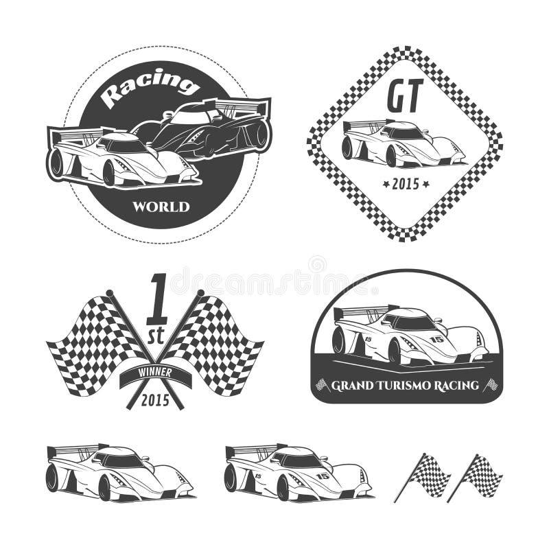 Raceautoemblemen royalty-vrije illustratie