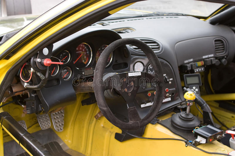 Racecar Cockpit. The cockpit of a sports car customized for track racing stock image