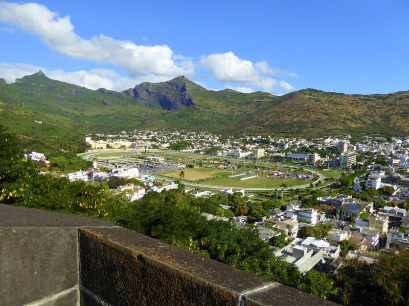 The city racecourse. The racecourse, as seen from the Citadel, Port Louis, Mauritius stock photo