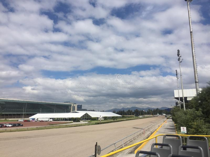 Racecourse Hippodrome. Mexico City Racecourse, foto taken from a tour bus stock images