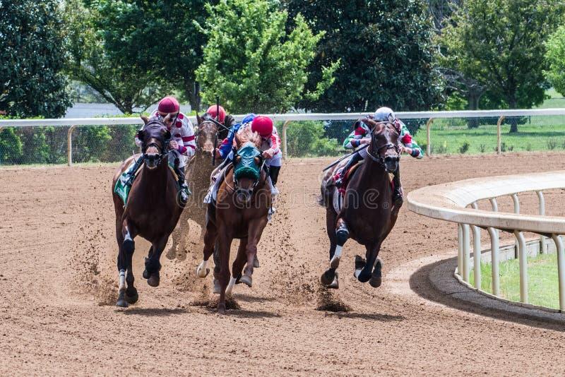Racecourse - Keeneland Corner 4. Horses making their move around corner 4 royalty free stock photos