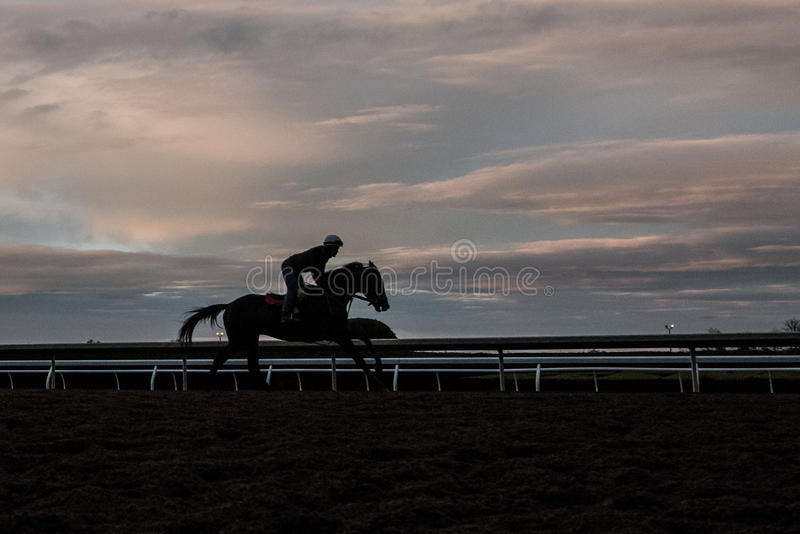 Racecourse - Keeneland - Silhouette. Keeneland Racetrack, early one spring morning, in Kentucky stock images