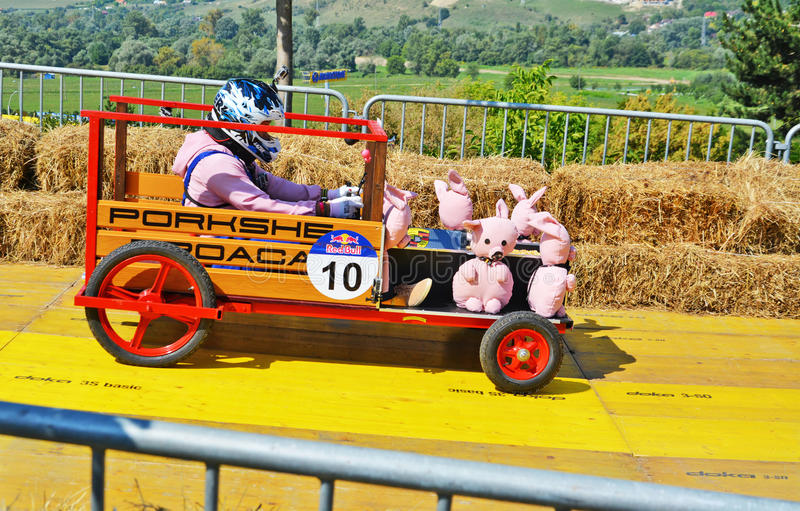 Racer drives a diy racecar with toy pigs down the racetrack. Competitor races in a diy racecar with toy pigs down the racetrack at the Red Bull Soapbox Race on royalty free stock image