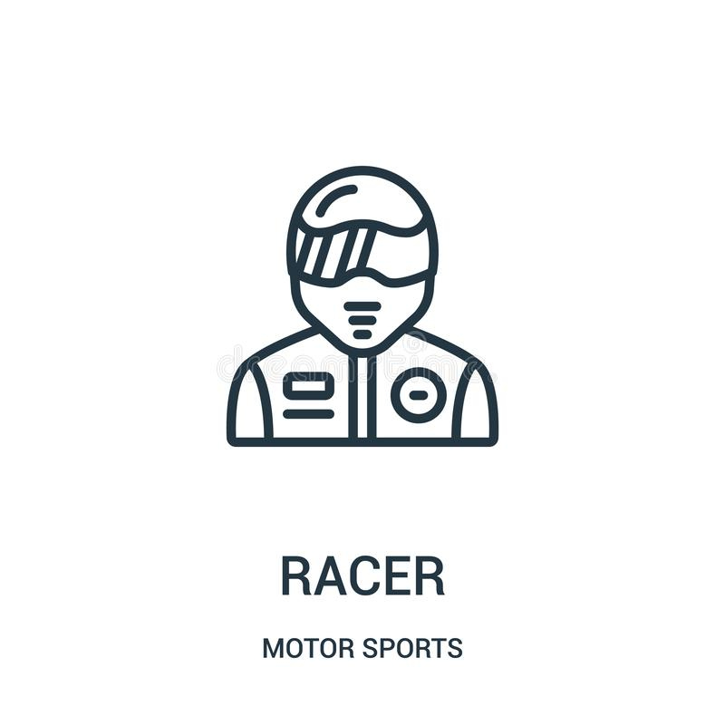 racer icon vector from motor sports collection. Thin line racer outline icon vector illustration. Linear symbol royalty free illustration