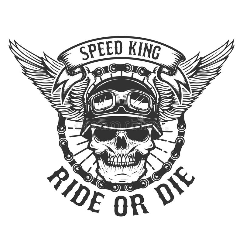 Free Racer Skull With Wings. Biker Power. Ride Or Die. Design Element Stock Photos - 97296103
