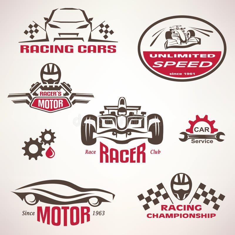 Racerbilar, tävlings- emblem och etikettuppsättning vektor illustrationer